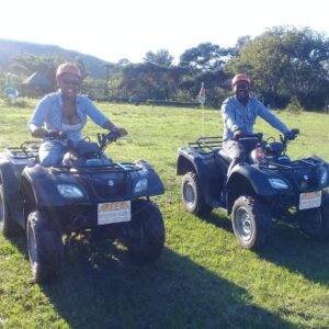 Couple on quad bikes