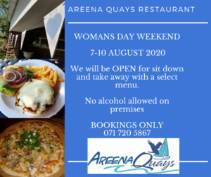 Advert for womans day weekend restaurant menu